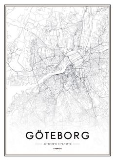Poster, tavla med Göteborg karta | Snygg affisch | Desenio SEK109