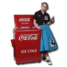 Refrigerated Coca-Cola Cooler Chest...check out the bobby sox, saddle shoes and poodle skirt.