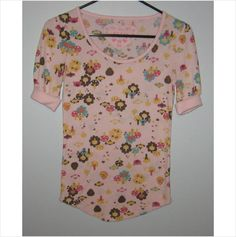 Ladies pink t-shirt with mushrooms/trees,Size-Extr  a Small