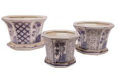 """Oriental Furnishings - 8"""" Octagonal Set Of Three Oriental Porcelain Blue and White Planters, $39.00 (https://www.orientalfurnishings.com/8-octagonal-set-of-three-oriental-porcelain-blue-and-white-planters/)"""