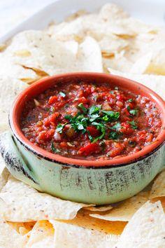 Fire-Roasted-Tomato-Blender-Salsa by Carlsbad Cravings Restaurant Salsa, Chile, Appetizer Dips, Appetizer Recipes, Party Recipes, Blender Salsa, Cooking Recipes, Healthy Recipes, Vinaigrette
