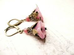 Sweet pink flower dangle earrings No E22 by VerdegrisGifts on Etsy, $15.00