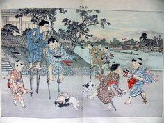 平紙本・「日本の子供たち(Japanese Children)」 岡田松生 M.Okada 折り本(bound accordion style)