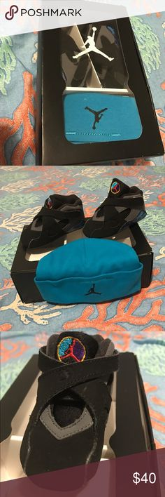 NIKE JORDAN 8 RETRO GIFT PACK SZ 4C Size 4C. Excellence Condition. Colors, black, grey and a touch of aqua. Super comfortable and easy to put on. Matching aqua hat never worn. Jordan Shoes Sneakers