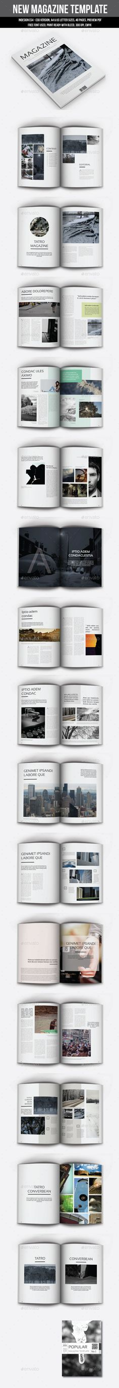New Magazine Template — InDesign INDD #simple #print • Available here → https://graphicriver.net/item/new-magazine-template/9204704?ref=pxcr
