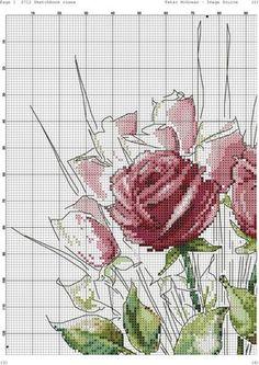 Roses in Vase 2 Cross Stitch Floss, Cross Stitch Borders, Cross Stitch Art, Counted Cross Stitch Kits, Cross Stitch Designs, Cross Stitching, Cross Stitch Patterns, Embroidery Art, Cross Stitch Embroidery