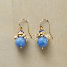 """LAGUNA EARRINGS--Handmade in USA, blue quartz and lapis with 18kt gold vermeil rings and a frothy spray of tiny pearls. 14kt gold filled wires. Exclusive. 1-1/8""""L."""