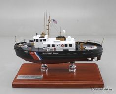 "18"" US Coast Guard Harbor Tug Replica Model. SD Model Makers offers made-to-order museum quality #replicashipmodels, for US Coast Guard cutters and boat in ANY size or scale. Contact us for a quote - www.sdmodelmakers.com"