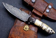 CFK USA Custom Handmade Damascus FOREST Scrimshaw Art Bone Hunting Blade Knife   eBay