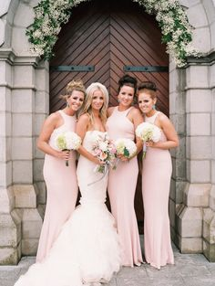 Pretty pink bridesmaids dresses | Frances and Thomas' Beautiful Glam Brandon House Lisa O Dwyer | www.onefabday.com