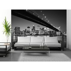 Wallpops 'Manhattan Skyline' Wall Mural ($125) ❤ liked on Polyvore featuring home, home decor, wall art, grey, mounted wall art, grey home decor, wall panels and new york mural