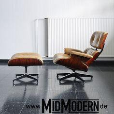 Eames Lounge Chair & Ottoman, Herman Miller 1978, Rosewood, leather Tan