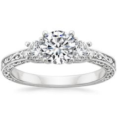 18K+White+Gold+Antique+Scroll+Three+Stone+Trellis+Ring+(1/3+ct.+tw.)+from+Brilliant+Earth