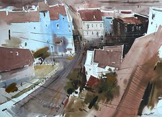 View from Galata tower,Istanbul by Eugen Chisnicean Watercolor ~ 52cm x 72cm