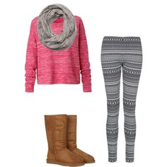 Cute shirt, infinity scarf, leggings, and uggs.