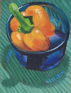 """""""Pepper with glass bowl"""" - Original Fine Art for Sale - © Leslie Genser"""