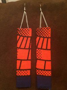 Orange and navy blue rectangle African wax print kitenge Ankara fabric dangle chain earrings https://www.etsy.com/listing/205995262/orange-and-navy-blue-african-wax-print