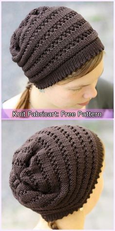 Knit Wurm Beanie Hat Free Patterns – Awesome Knitting Ideas and Newest Knitting Models Knit Slouchy Hat Pattern, Beanie Knitting Patterns Free, Loom Knitting, Knitting Socks, Knit Patterns, Knitted Hats, Sewing Patterns, Diy Crafts Knitting, Crochet Cap