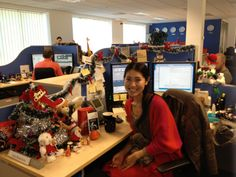 Yuka, Order Management Analyst, from the @VMware Cork, #Ireland site is a smiles during the annual holiday desk decorating competition. #VMwareCareers