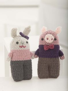 Little Pig And Bunny - Free Knitted Pattern - See http://www.ravelry.com/patterns/library/little-pig-and-bunny For Additional Projects - (joann.lionbrand)