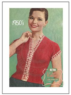 1950s Pretty Button Up Blouse Knitting Pattern  by MyVintageWish