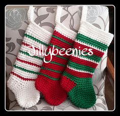 This quick and easy Jillybeenies Christmas Stocking is crocheted with an M hook and double strands of yarn. You can easily finish one in an hour. The finished size is 17 long x 7 wide. Any worsted weight yarn will work up nicely. Crochet Christmas Stocking Pattern, Crochet Stocking, Holiday Crochet, Christmas Knitting, Crochet Gifts, Crochet Yarn, Free Crochet, Christmas Sock, Crochet Christmas Stockings