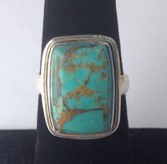 Beautiful Sterling Silver Genuine Boulder Turquoise Stone Ring, Sterling Silver ring size 7, 925 Silver Ring