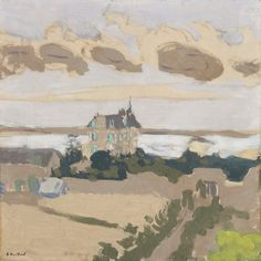 """From the Art Collection of the High Museum: """"La Villa Les Écluses, St. Jacut, Brittany"""" (Distemper on paper laid down on canvas) by Édouard Vuillard"""