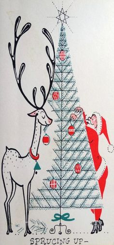 Mid Century Christmas card - Santa and reindeer decorate a Christmas tree