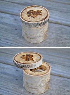 Ring box made from a birch tree in New Hampshire for our rings. Mountain and forest themed wedding.