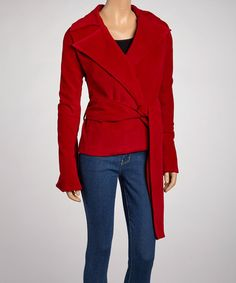Take a look at this Red Belted Peacoat by Newport News on #zulily today!