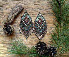 Navajo Loom..Beaded Fringe Earrings Native by hoofandarrow on Etsy