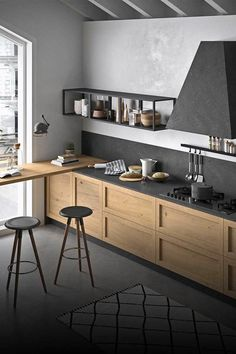 Industrial Kitchen Design, Kitchen Room Design, Modern Kitchen Design, Home Decor Kitchen, Interior Design Kitchen, New Kitchen, Home Kitchens, Industrial Style, Contemporary Small Kitchens