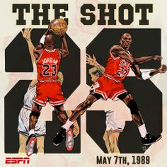 "25 years ago today, Michael Jordan took ""The Shot"" over Ehlo, and…the Bulls won! They won!"