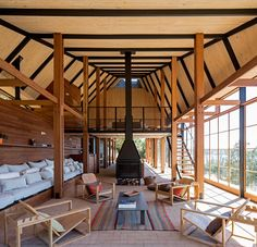 Completed in 2016 in Los Lagos, Chile. Images by Nico Saieh. Located in the Rivers Region, the project is located within the lakeshore on a natural plain, limited by the native forest and the slope towards Lake...