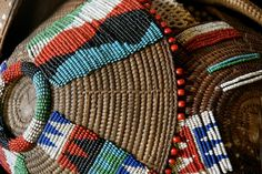 """Old Lozi food bowl with deep patina Lozi hair brushes Zulu Beaded Imbenge (beer pot covers) Ancient Zulu beaded apron Lovely old Zulu bowl with lid full of """"amasumpa"""" Patterns on an old Zulu beer storage pot Old Shona water pots African Design, African Art, Africa Craft, Cultural Artifact, Expressive Art, African Beads, Weaving Art, Tribal Art, Love Art"""