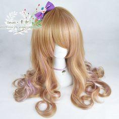 ● prime and ● Japanese Harajuku lolita Sen female sweet linen yellow light purple deep purple three-color gradient scroll wig - Taobao
