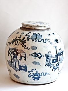 Scene is called '1000 Antique Pattern' Large blue and White Ginger Jar dating back to Mid 19th Century