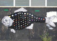Cool street art using vinyl records for fish scales.  http://audiojudgement.com/transmission-line-speaker-design/