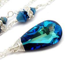 Peacock Bermuda Blue Necklace Swarovski Crystals by martaky, $45.00