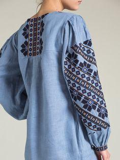 Designer dress by EtnoDim / Embroidered linen dress ME1 by ETNODIM