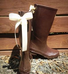 PreOrder Coffee Rain Boots with Custom Bows by PuddlesNRainBows, $72.00