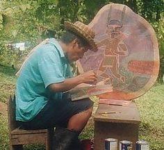 Guaymi man painting, Panama
