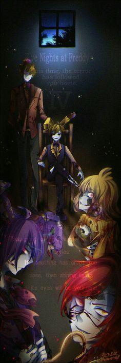 Foxy, Bonnie, Chica, Plushtrap, Freddy, Five Nights at Freddy's 4, human form, text, Anime boy, anime girl; Five Nights at Freddy's