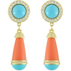 Kenneth Jay Lane Turquoise Coral Drop Earrings found on Polyvore