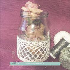 Deko-Objekte - Ostergeschenk: Glas mit handgehäkeltem Überzug - ein Designerstück von UniCatGrafik bei DaWanda Shops, Tricks, Social Media, Children, Objects, Thanks, Easter, Corning Glass, Young Children