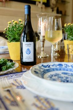 Set the table with blues and yellow. @angelavineyards white wine to match Floral Tablecloth, Easy Family Meals, Placemat Sets, Beautiful Architecture, Marigold, Pomegranate, White Wine, Table Runners, A Table