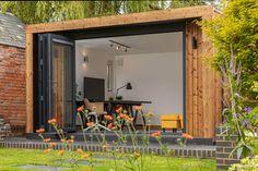 The Rise of the Garden Office - Green Retreats Summer House Garden, Garden Bar, Garden Studio, Home And Garden, Backyard Office, Garden Office, Pool Table Room, Wooden Cladding, Garden Workshops
