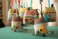 fabric houses by Retro Mama. making these is addictive.  They are so much fun!