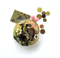 Needle Felted Sparrow on a cherry branch OOAK Coin Purse Change Ready to Ship handmade gift for her under 50 USD